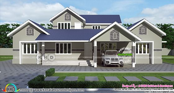 Blue roof grey color painted house front elevation