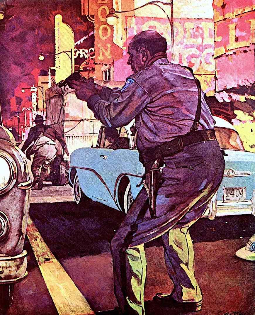a Ken Riley illustration, policeman shoots in public