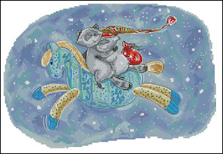 Cross-stitch «Еноты на лошадке» Надежда Григорьева (Mandarinks)