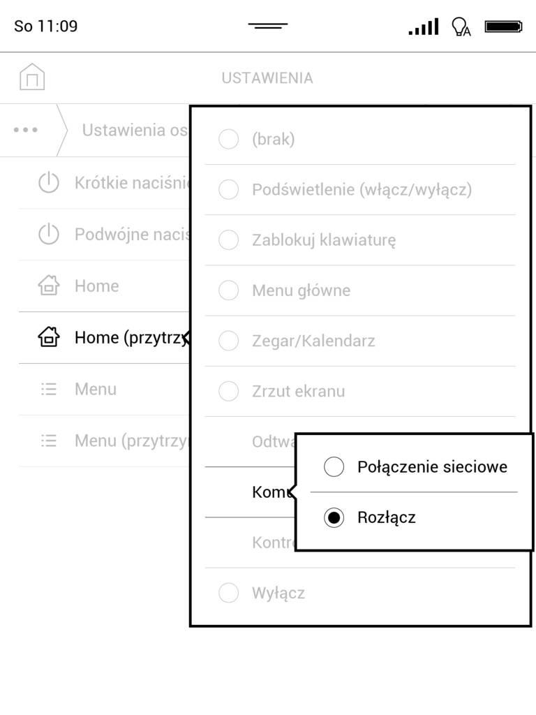 Mapowanie klawiszy w PocketBook InkPad 3 - przypisanie przyciskowi funkcji rozłączania połączenia WiFi