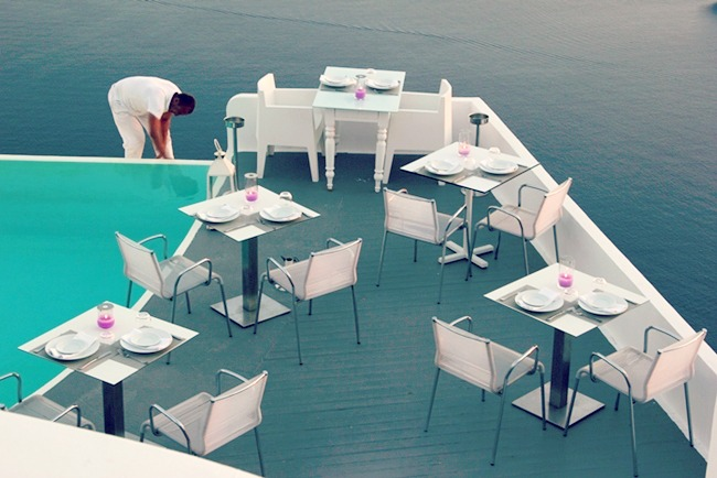 Chromata Santorini hotel dinner area