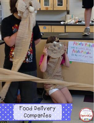 "STEM: For their presentation this team asked if they could make costumes. I said they could as long as it was simple supplies. They used cardboard and packing fluff and made masks. Their ""commercial"" for their food delivery company (invented in STEM class) was priceless!"
