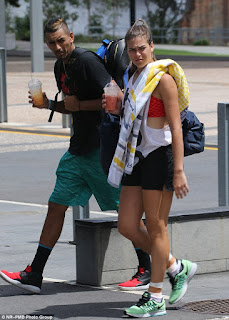 Nick Kyrgios And His Girlfriend Ajla Tomljanovic On Their Way To Training
