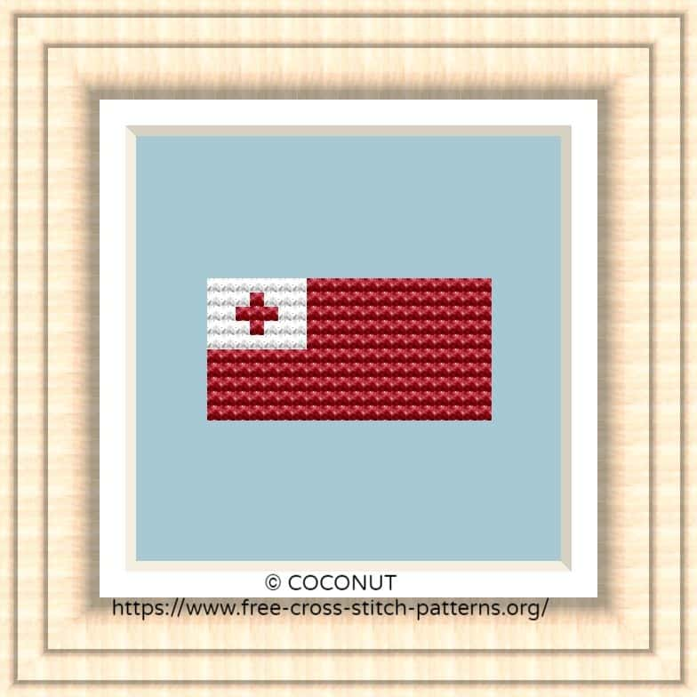 NATIONAL FLAG OF TONGA CROSS STITCH CHART