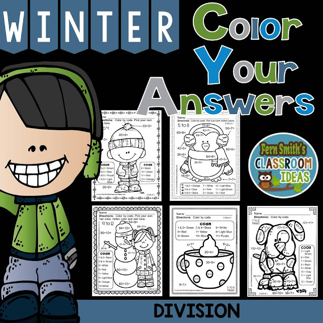 Fern Smith's Classroom Ideas Winter Fun! Color By Numbers Printables - Division Basic Facts Color Your Answers Printables at TeacherspayTeachers, TpT.