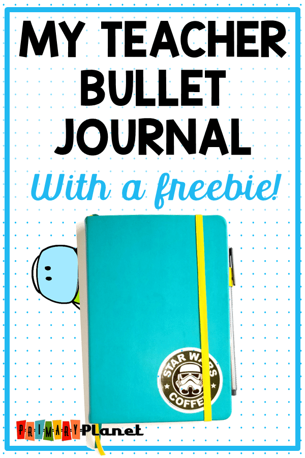 My Teacher bullet journal post!  I am showing you how I keep it all together!  I will show you my layout, my weekly spreads, my collections, and how I use it to organize my whole life!  I don't lesson plan in my bullet journal.  This post also contains a calendar freebie for you to download and print! #bulletjournal #teachers #planner #primaryplanet