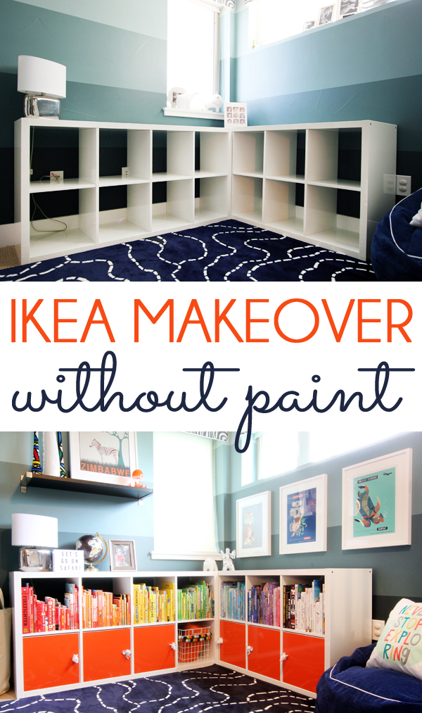 Ikea bookshelf makeover for organizing kids toys