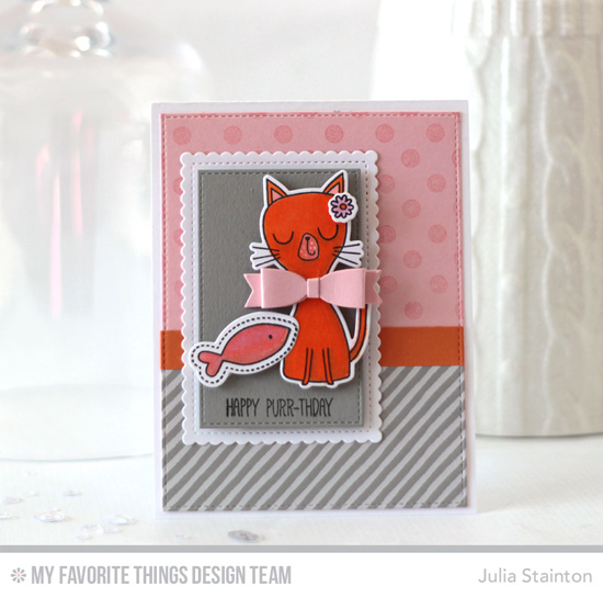 Happy Purr-thday Card by Julia Stainton featuring the Cat-itude stamp set and Die-namics, Polka Dot Background stamp, and the Laina Lamb Design Creative Clips and Blueprints 13 Die-namics #mftstamps
