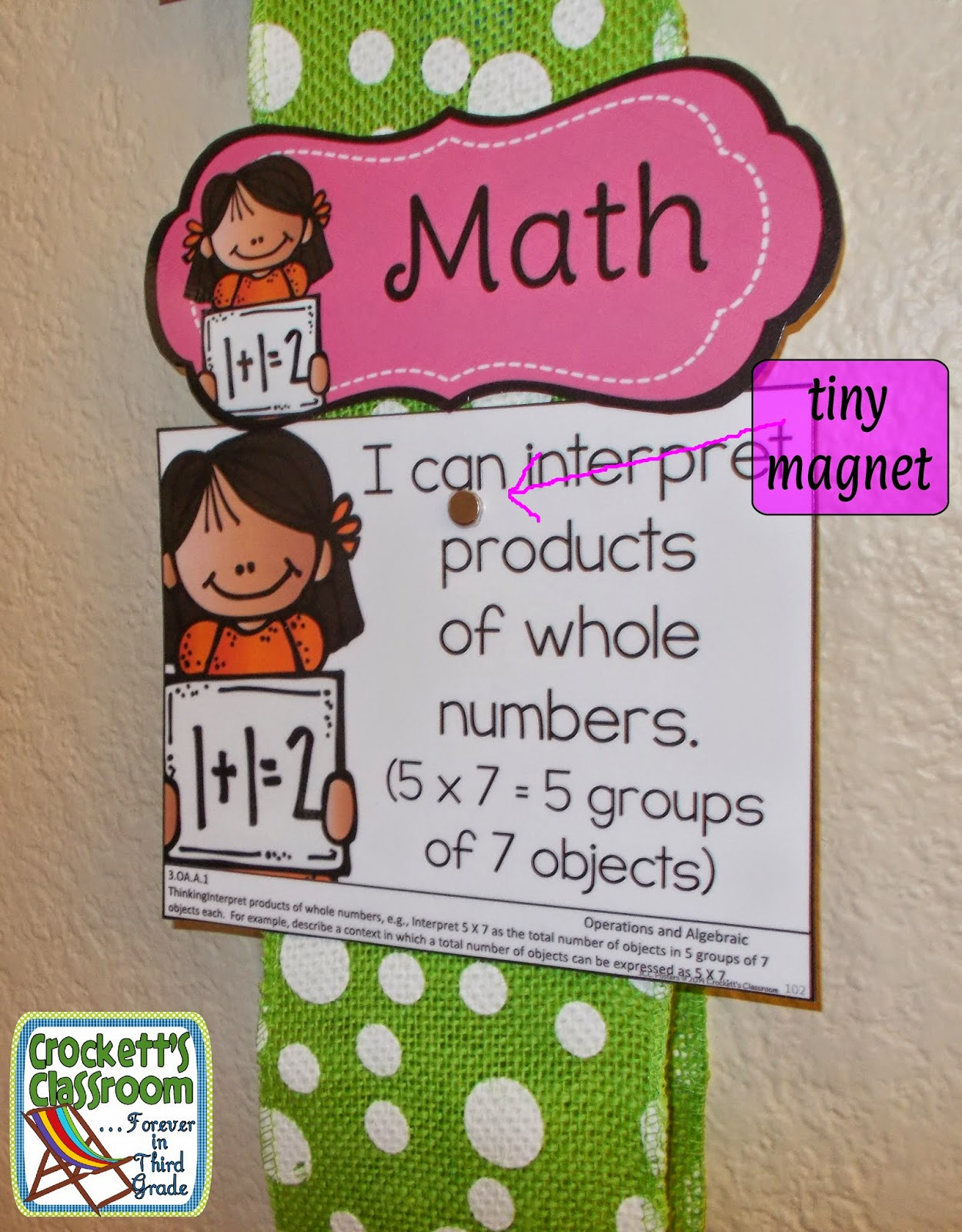 Tiny magnet holds small signs in a display--Crockett's Classroom