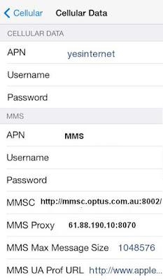 Optus Internet and MMS APN Settings for iPhone 6S 6 5 4S iPad Australia