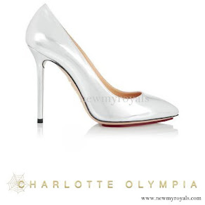 Princess Sofia Hellqvist wore Charlotte Olympia Monroe Metallic Leather Pumps