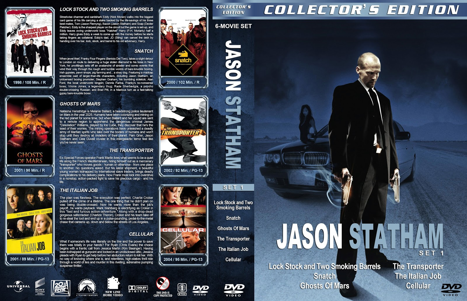 Jason Statham Collection Set 1-5 [Large Spine] DVD Cover