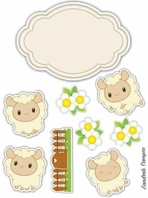Ovejitas Amarillas: Etiquetas, Stickers o Toppers para Primera Comunión de Nena, para Imprimir Gratis.