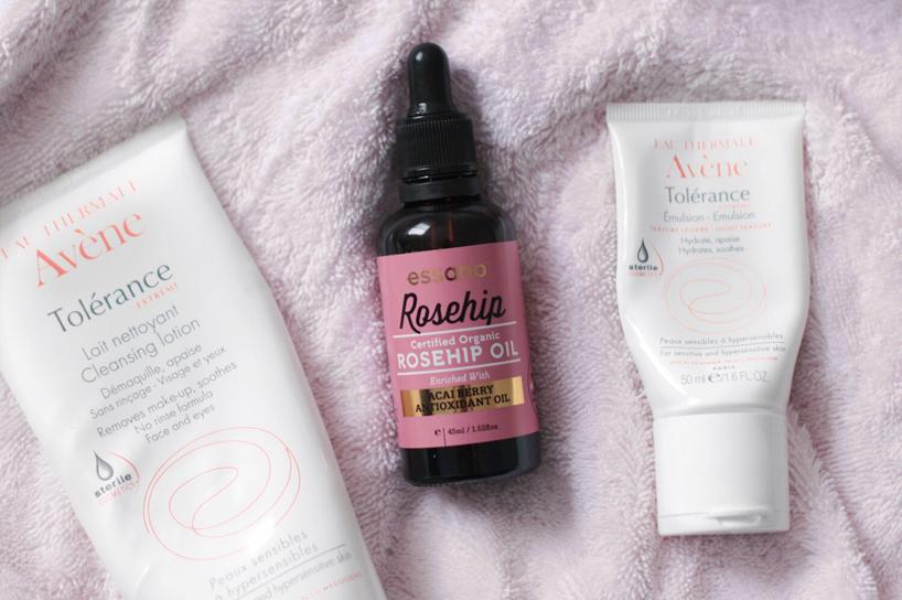 morning skincare routine Avene Essano rosehip oil