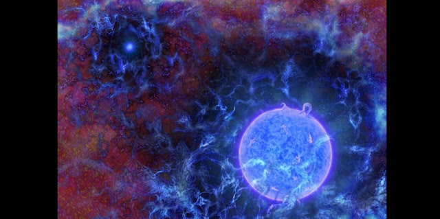Artist's rendering of the universe's first, massive, blue stars in gaseous filaments, with the cosmic microwave background (CMB) at the edges. Using radio observations of the distant universe, NSF-funded researchers Judd Bowman of Arizona State University, Alan Rogers of MIT, and others discovered the influence of such early stars on primordial gas. The team inferred the stars' presence from dimming of the CMB, a result of the gaseous filaments absorbing the stars' UV light. The CMB is dimmer than expected, indicating the filaments may have been colder than expected, possibly from interactions with dark matter.  Image: N.R.Fuller/National Science Foundation