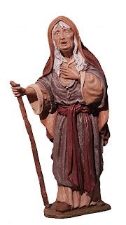 anciana depie con bastón para belenes de 12 cm.