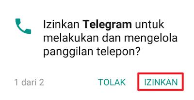 Izinkan Telegram untuk melakukan dan mengelola panggilan telepon?