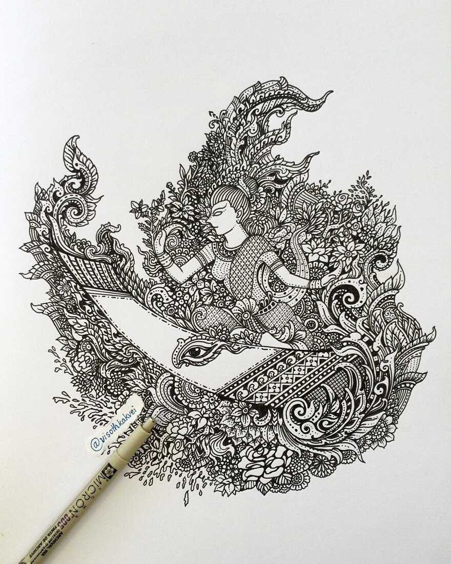10-Royal-Water-Festival-in-Cambodia-Visoth-Kakvei-visothkakvei-Intricate-and-Ornate-Black-and-White-Drawings-www-designstack-co