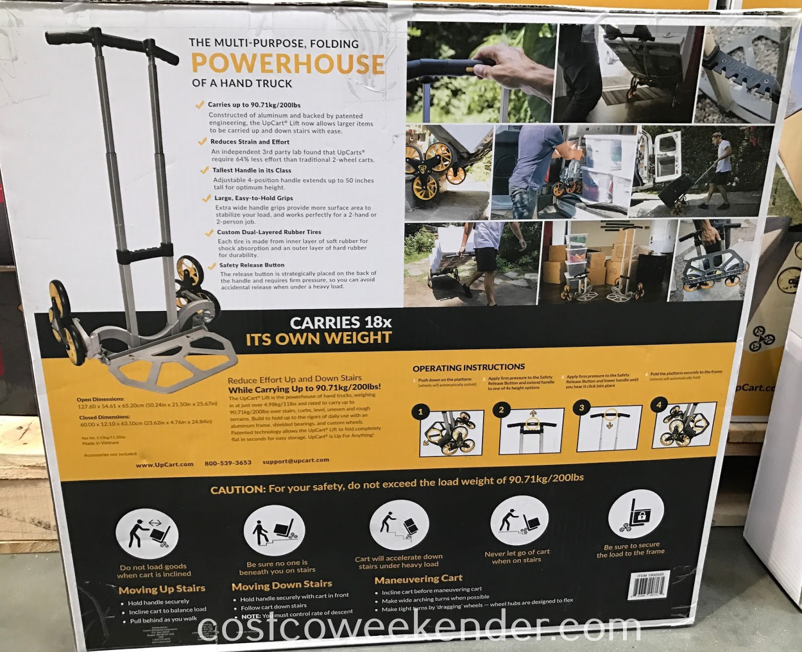 Costco 1900520 - The UpCart Lift Stair-Climbing Hand Truck allows you to take the stairs even when moving