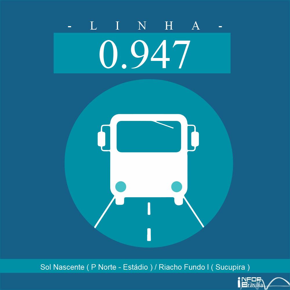 Horário de ônibus e itinerário 0.947 - Sol Nascente ( P Norte - Estádio ) / Riacho Fundo I ( Sucupira )
