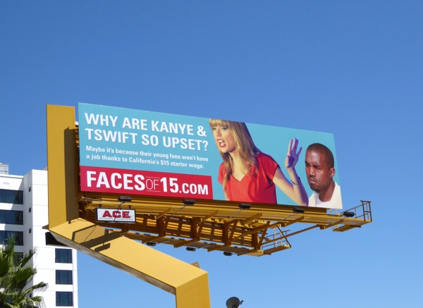 Why are Kanye Taylor Swift so upset Faces of 15 billboard