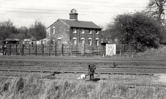 Photograph of the Railway Cottages, Marshmoor from across the track - July 1967 Image by Ron Kingdon, part of the Images of North Mymms Collection