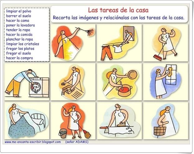 """""""Las tareas de la casa"""" (Ficha de recortables)"""