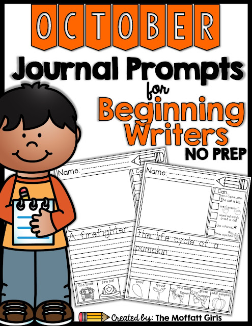 Journal Prompts for October- These 20 journal prompts include I Can statements to build writing skills and a picture dictionary to spark the imagination. Perfect for beginning writers.