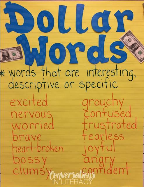 Word Choice Anchor Chart Dollar Words