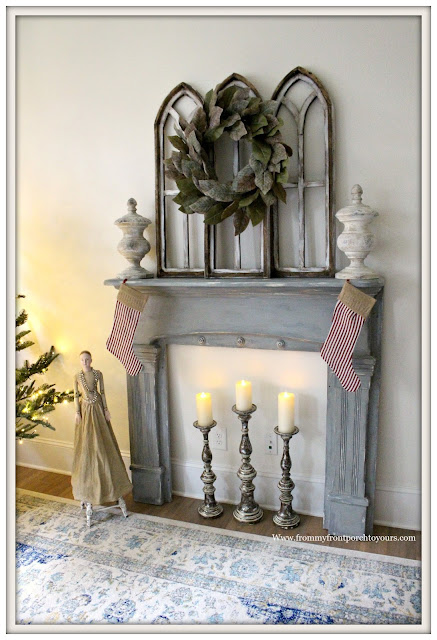 French Country Farmhouse Christmas Bedroom-Gray-Vintage-Fireplace Mantel-Ticking Stripe Christmas Stockings-From My Front Porch To Yours