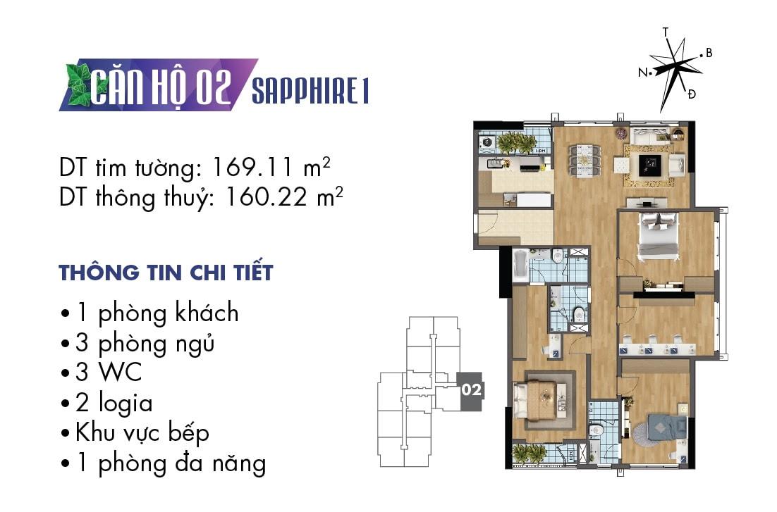 Mặt bằng căn hộ 02 tòa Sapphire 1