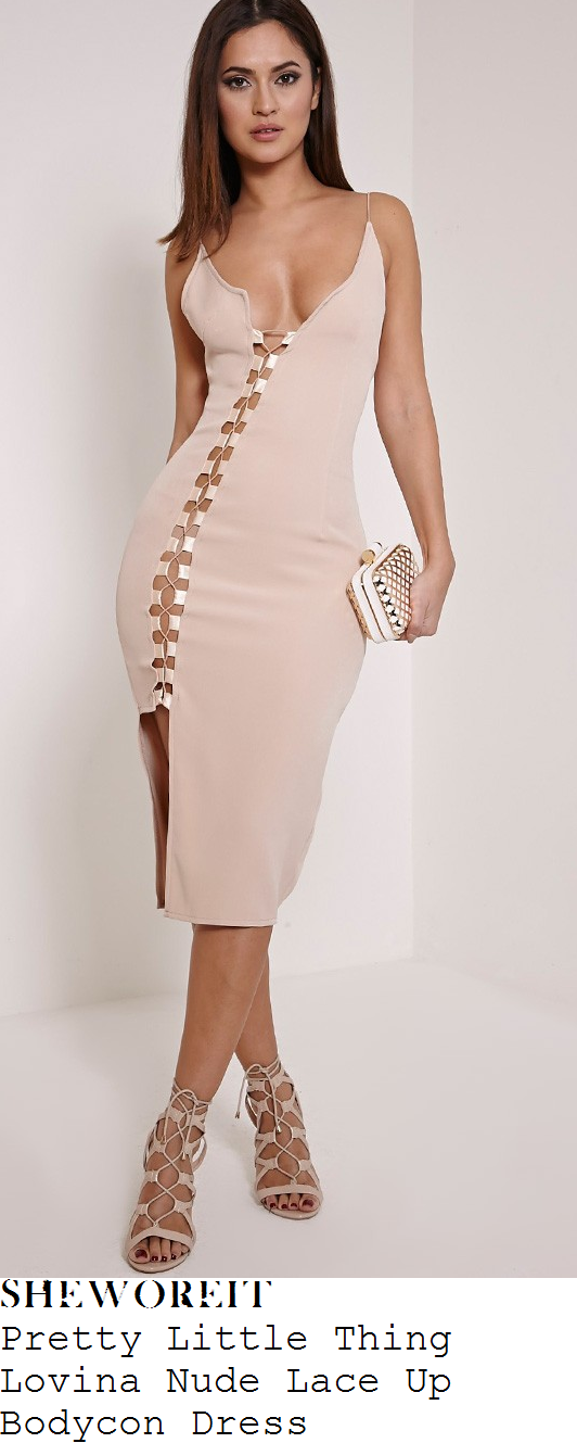 cally-jane-beech-pretty-little-thing-lovina-nude-lace-up-bodycon-midi-dress