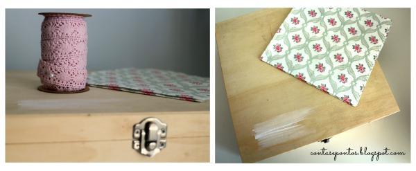 caixa de ferramentas - pintura de madeiras e técnica de guardanapo