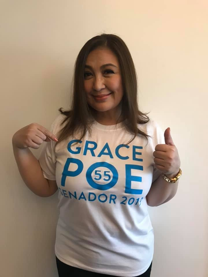 Sharon Cuneta supports re-electionist senator Grace Poe.