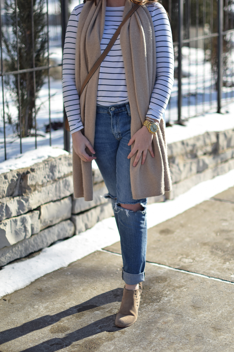 Club Monaco sale top and scarf with boyfriend jeans on Seaside Styled.