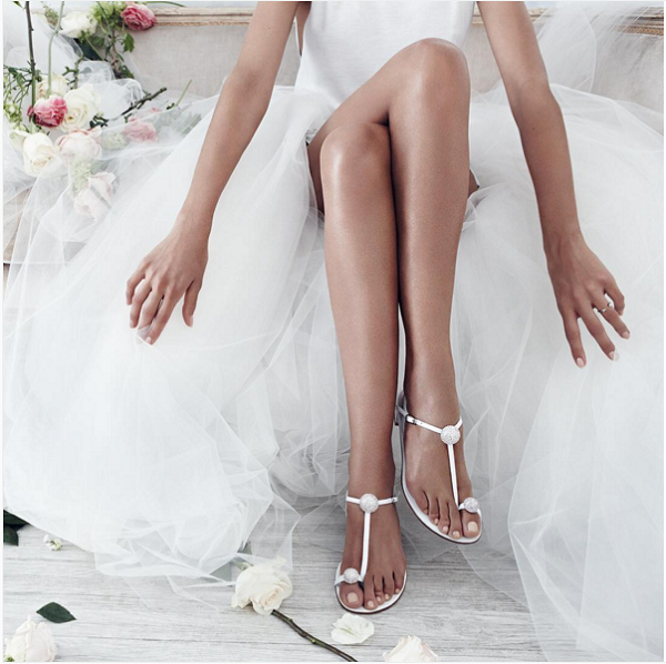Stuart Weitzman Bridal Collection BALLSOFFIRE white flat sandal