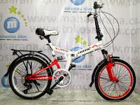 Sepeda Lipat Exotic ET20-2030 Suspensi 6 Speed 20 Inci White Red