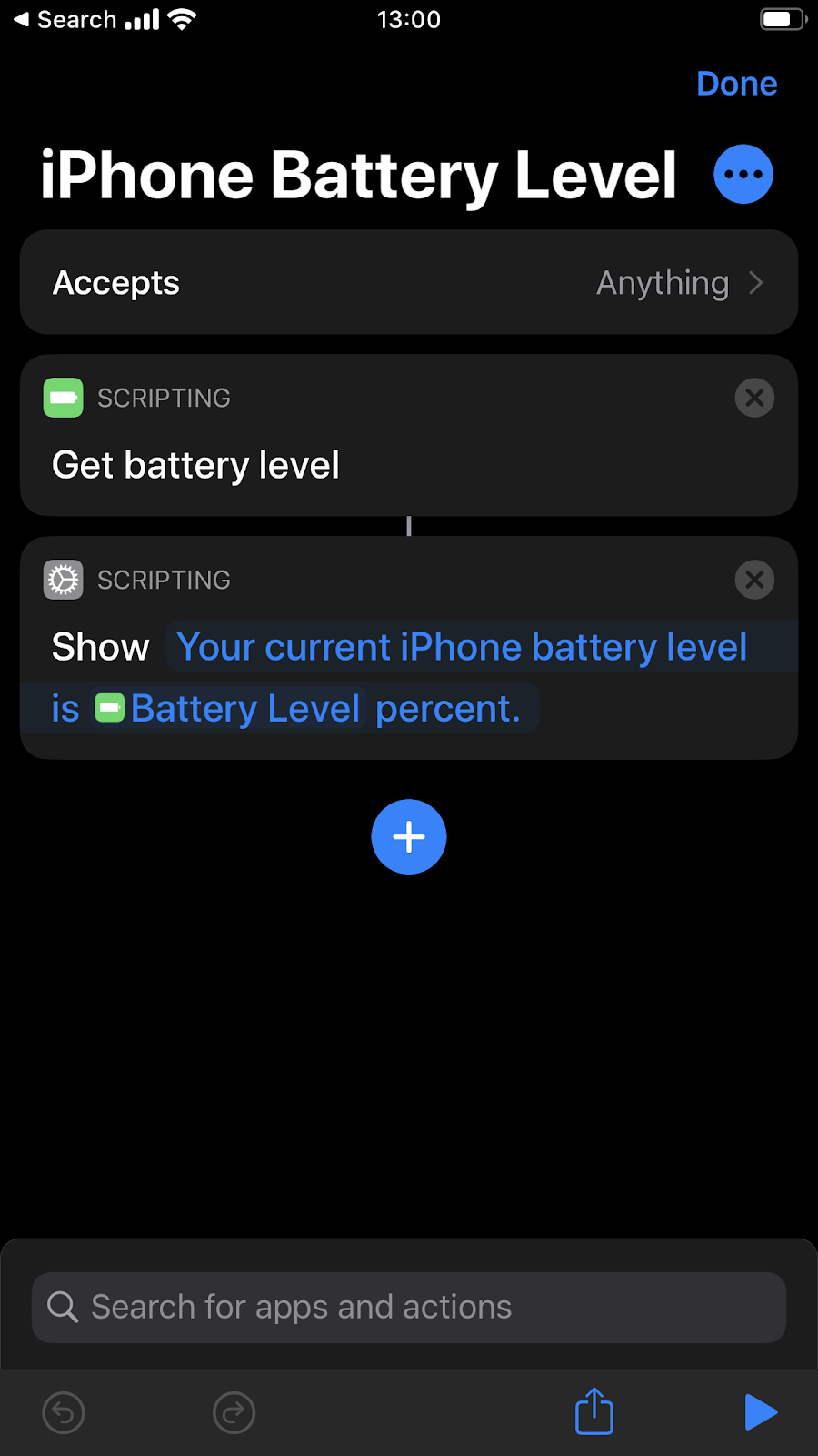 Come gestire la batteria con Shortcuts