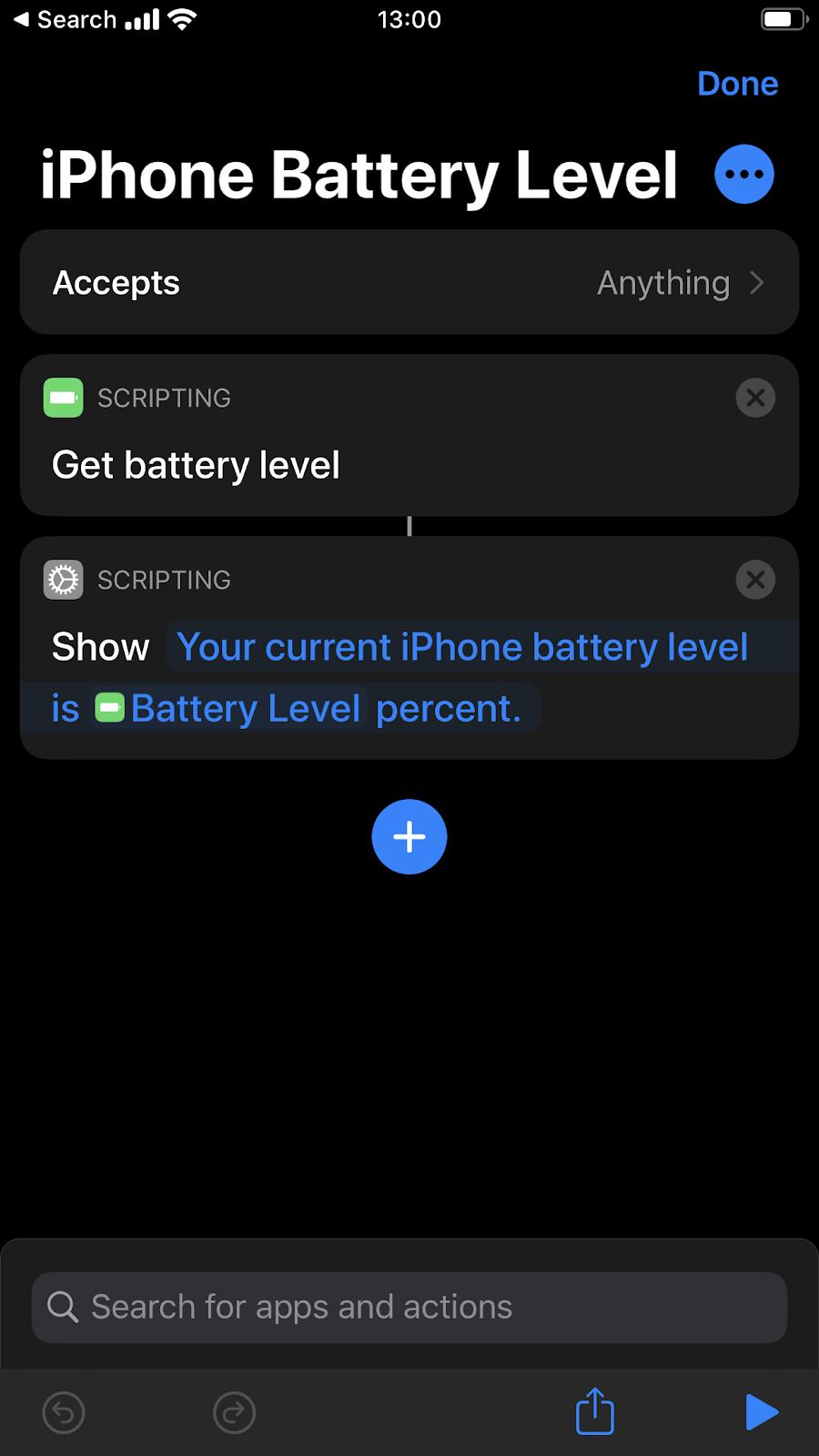 Screenshot di Shortcuts e iPhone battery level