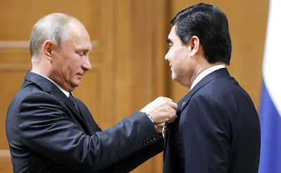 Vladimir Putin presented the President of Turkmenistan Gurbanguly Berdimuhamedov with a state award of the Russian Federation – the Order of Alexander Nevsky.
