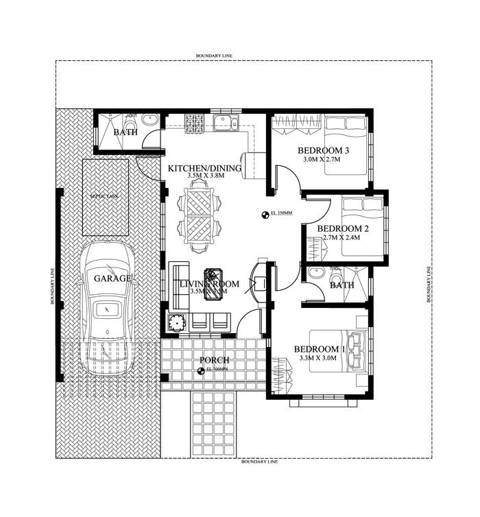 Nice 2 Bedroom Bungalow House Plans Philippines Part - 6: FLOOR PLAN