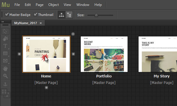 Double click on page thumb in Plan view in Adobe Muse to open page in Design mode