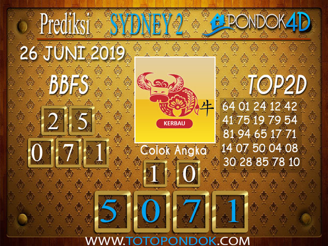Prediksi Togel SYDNEY 2 PONDOK4D 26 JUNI 2019