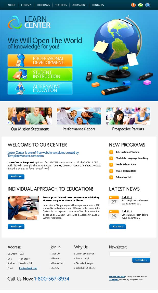 Company Website Design: Free Education Website Template for Learn ...