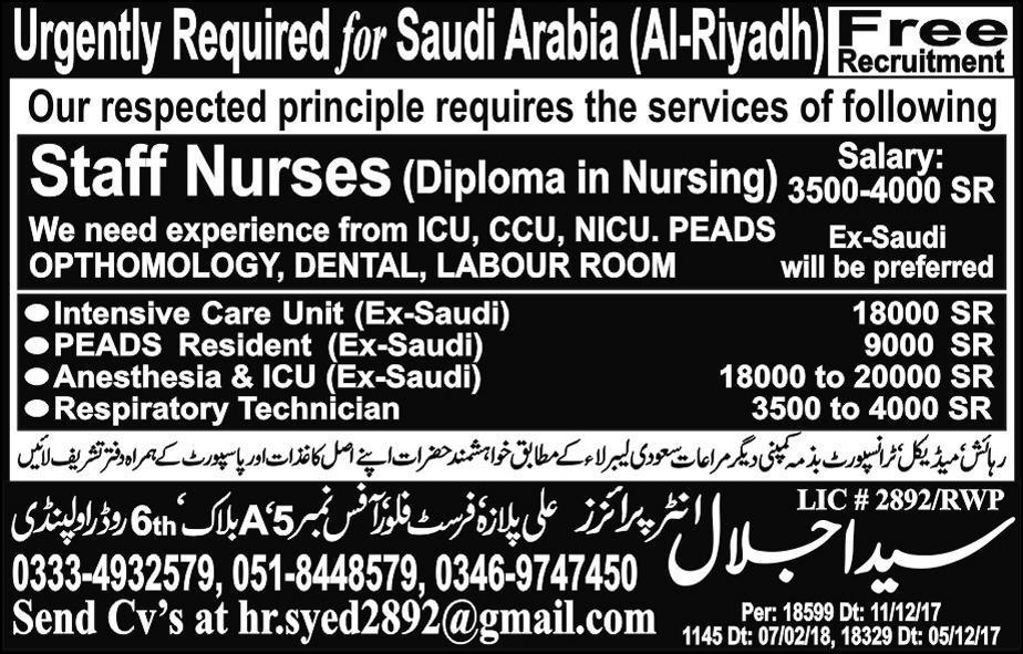 Nurses Staff is required in Saudi Arabia