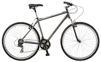 Schwinn Capitol 700c Men's 18 Hybrid Bike S4060, lightweight hybrid frame with Schwinn suspension fork, padded spring saddle with suspension seat post, Shimano 21 speed EZ-Fire shifters, Shimano rear derailleur