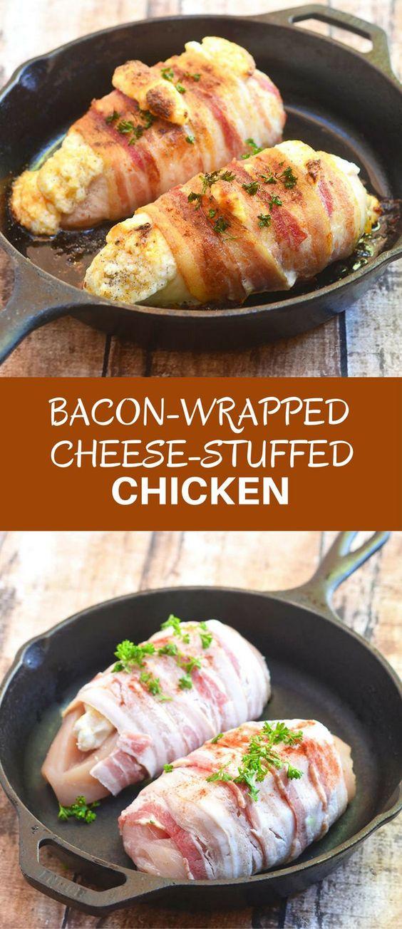 Bacon-Wrapped Cheese-Stuffed Chìcken