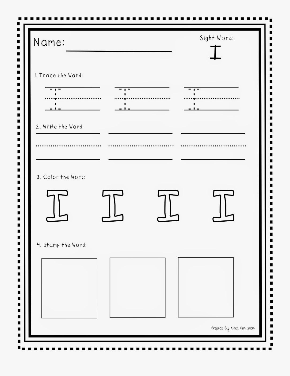 Sight Word I Worksheet Photos