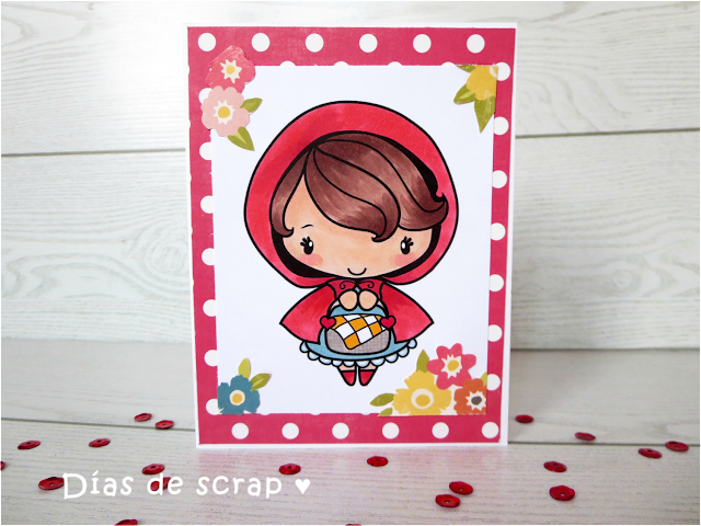 scrap Postal para el reto de The Greeting farm y el FFF A touch of red