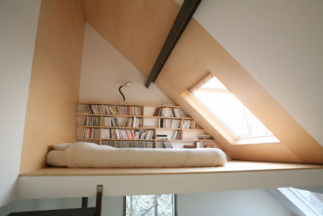 Attic tuned in to bedroom with ventilating skylight